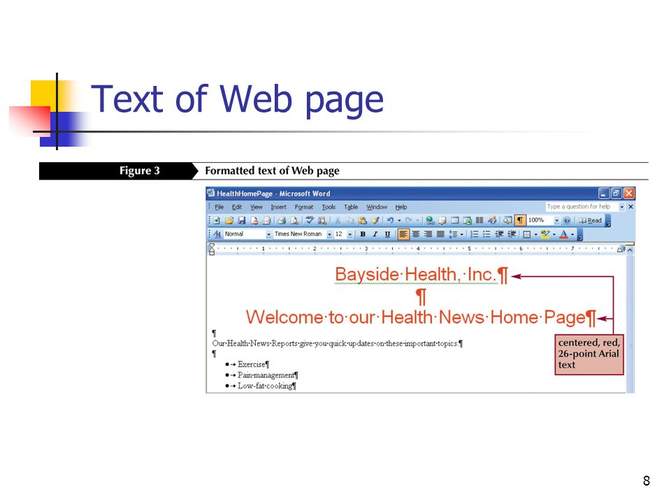 8 Text of Web page