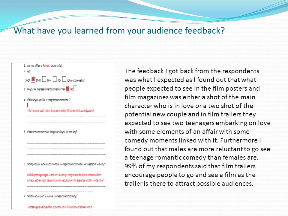 What have you learned from your audience feedback.