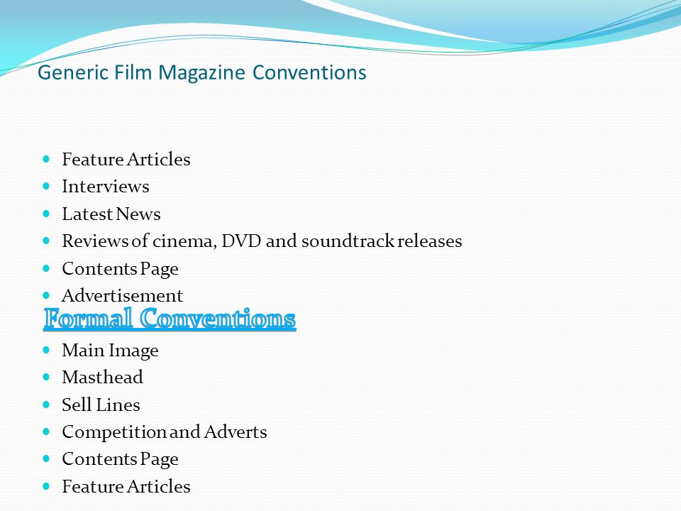 Generic Film Magazine Conventions Feature Articles Interviews Latest News Reviews of cinema, DVD and soundtrack releases Contents Page Advertisement Main Image Masthead Sell Lines Competition and Adverts Contents Page Feature Articles