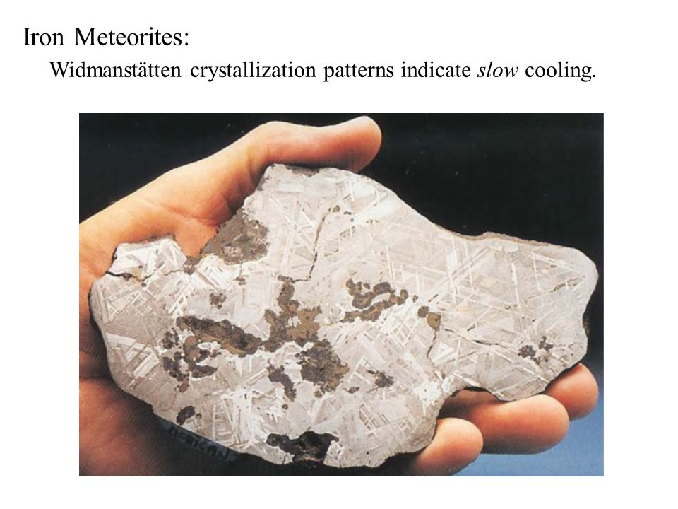 Iron Meteorites: Widmanstätten crystallization patterns indicate slow cooling.
