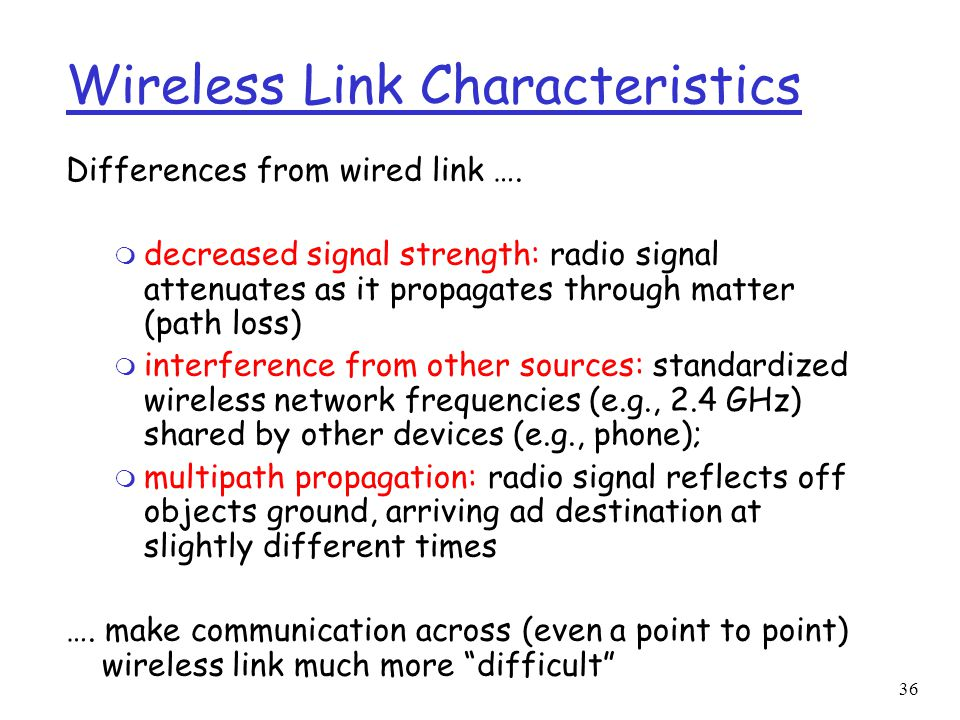 36 Wireless Link Characteristics Differences from wired link ….