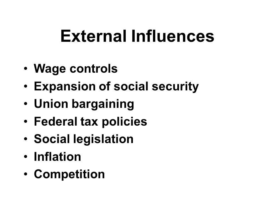 External Influences Wage controls Expansion of social security Union bargaining Federal tax policies Social legislation Inflation Competition