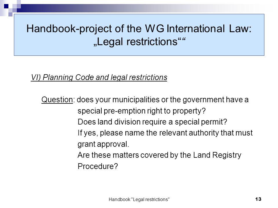 Land Registry Restrictions >> Elra Working Group International Law Handbook Legal