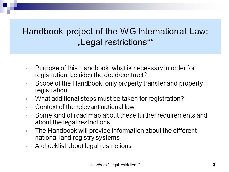 Land Registry Restrictions >> Elra Working Group International Law Handbook Legal Restrictions