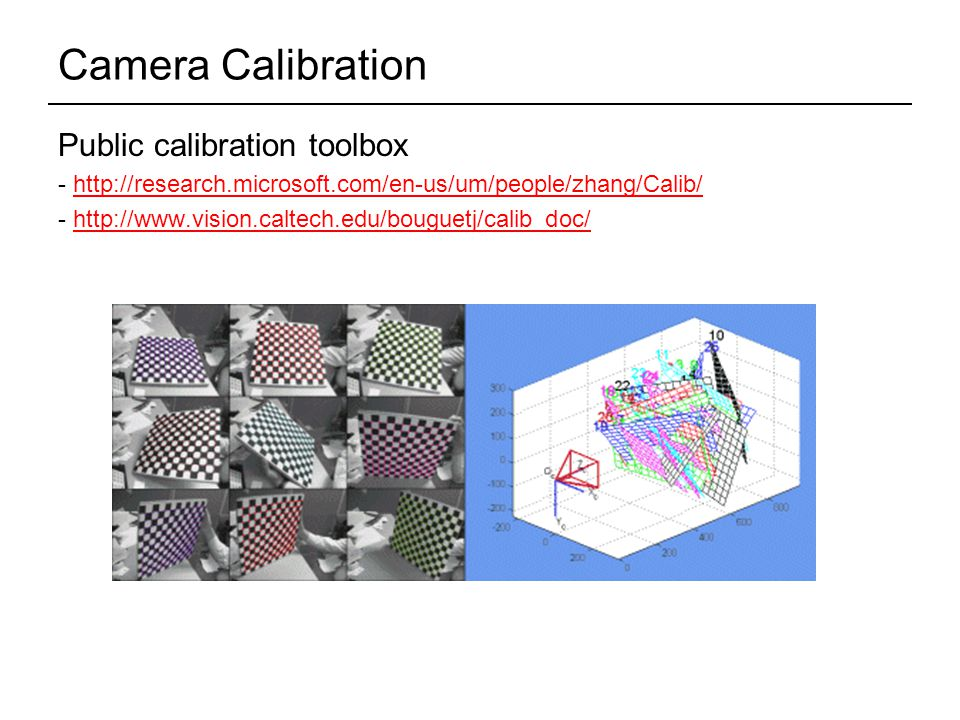 Camera Calibration Public calibration toolbox