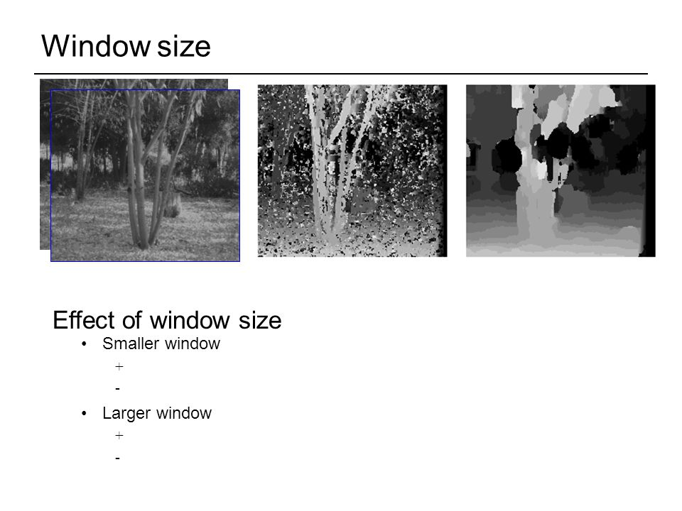 Window size Smaller window + - Larger window + - W = 3W = 20 Effect of window size
