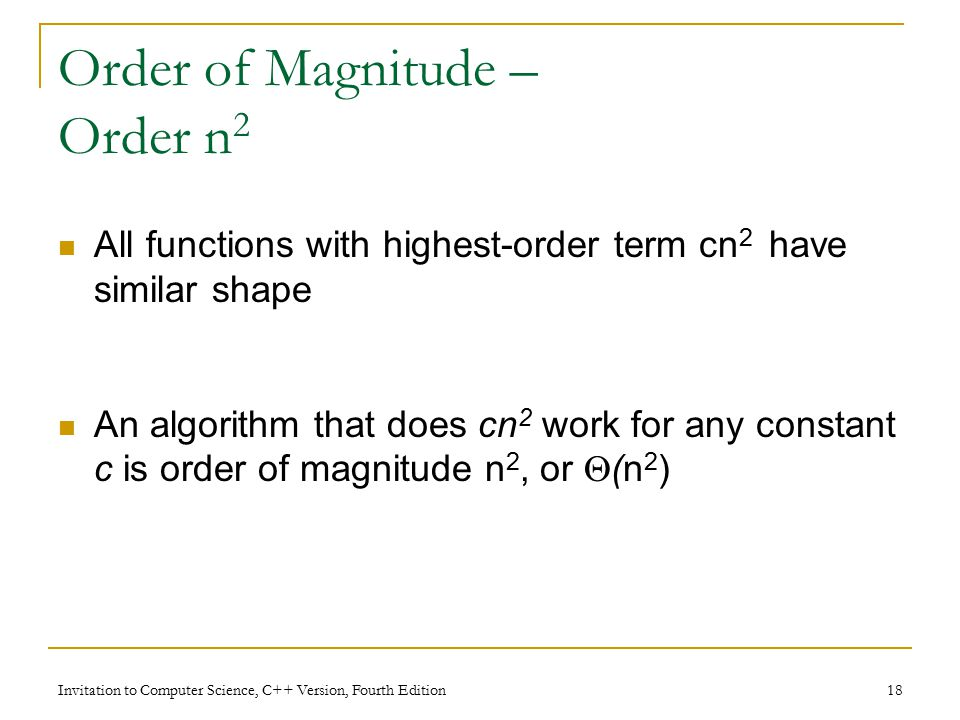 Invitation to Computer Science, C++ Version, Fourth Edition 18 Order of Magnitude – Order n 2 All functions with highest-order term cn 2 have similar shape An algorithm that does cn 2 work for any constant c is order of magnitude n 2, or  (n 2 )