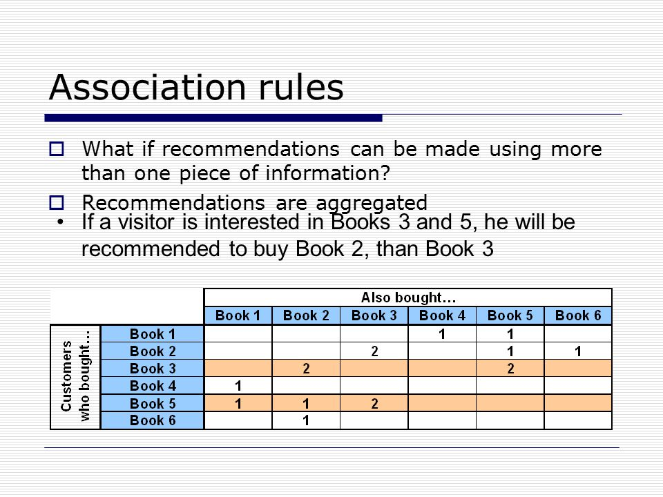 Association rules  What if recommendations can be made using more than one piece of information.