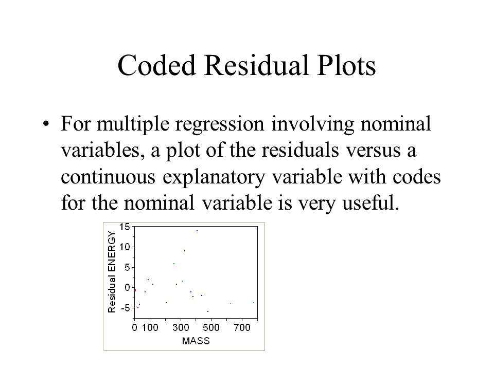 Coded Residual Plots For multiple regression involving nominal variables, a plot of the residuals versus a continuous explanatory variable with codes for the nominal variable is very useful.