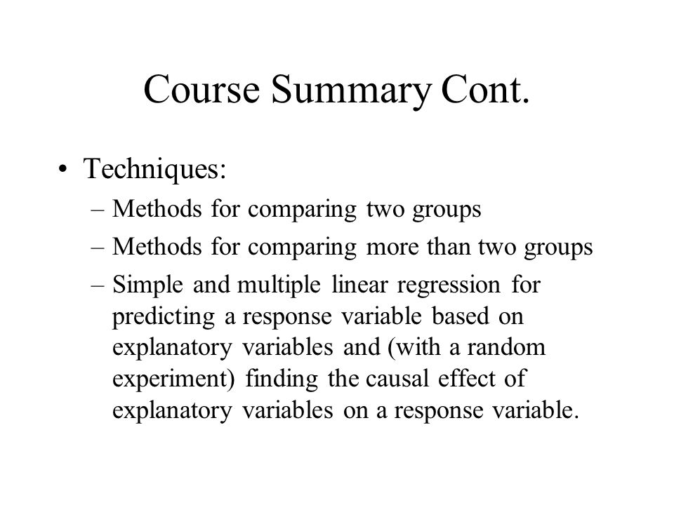 Course Summary Cont.