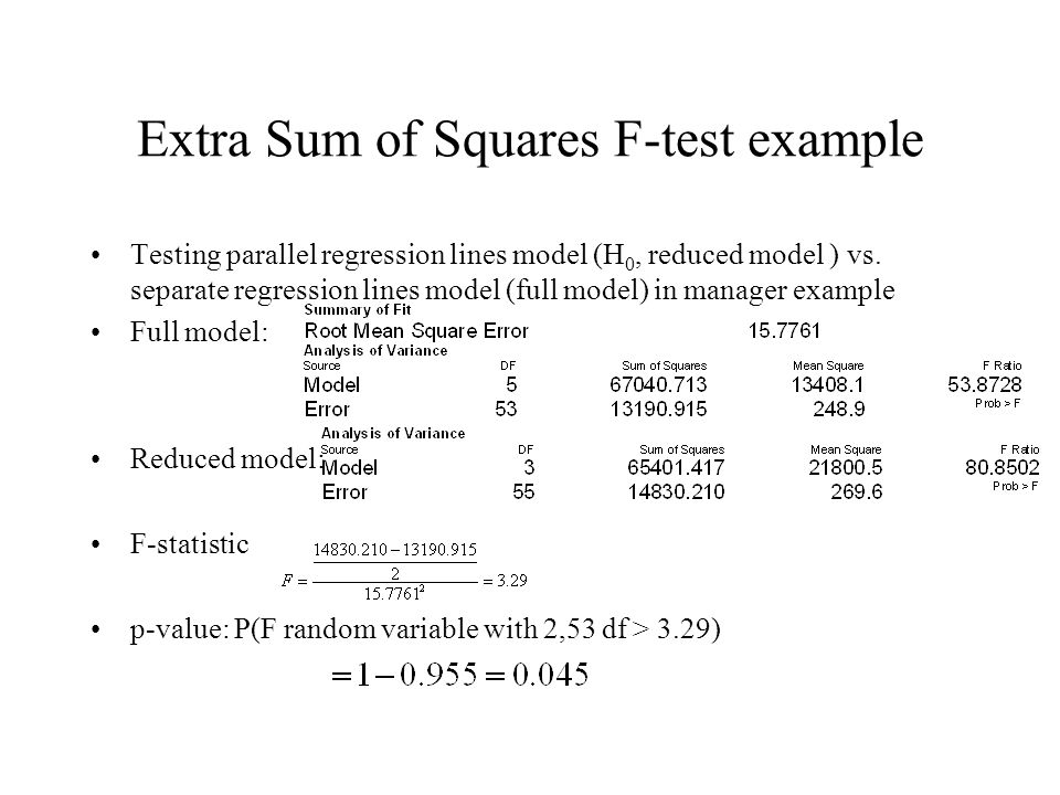 Extra Sum of Squares F-test example Testing parallel regression lines model (H 0, reduced model ) vs.
