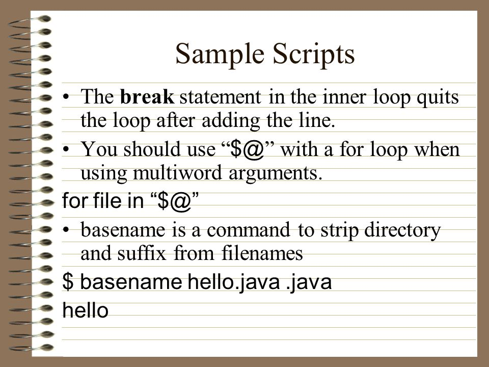 Sample Scripts The break statement in the inner loop quits the loop after adding the line.