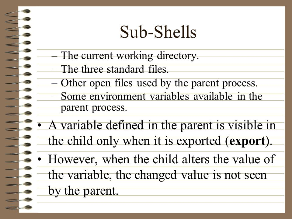 Sub-Shells –The current working directory. –The three standard files.