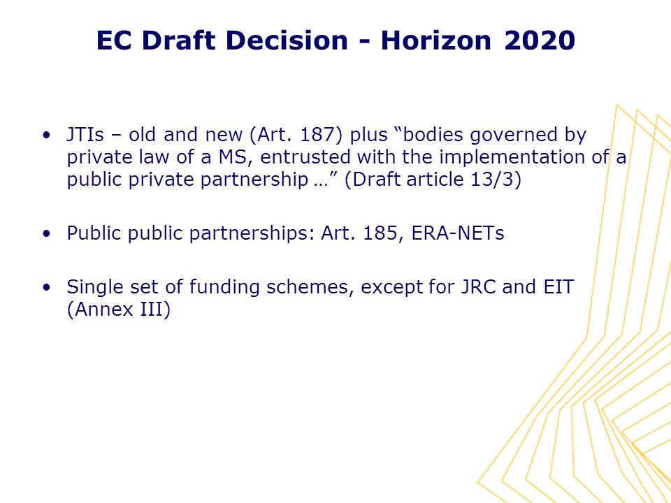 EC Draft Decision - Horizon 2020 JTIs – old and new (Art.