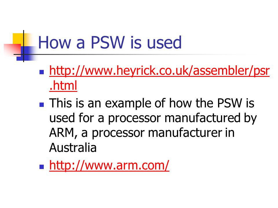 How a PSW is used     This is an example of how the PSW is used for a processor manufactured by ARM, a processor manufacturer in Australia