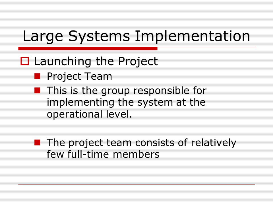 Large Systems Implementation  Launching the Project Project Team This is the group responsible for implementing the system at the operational level.