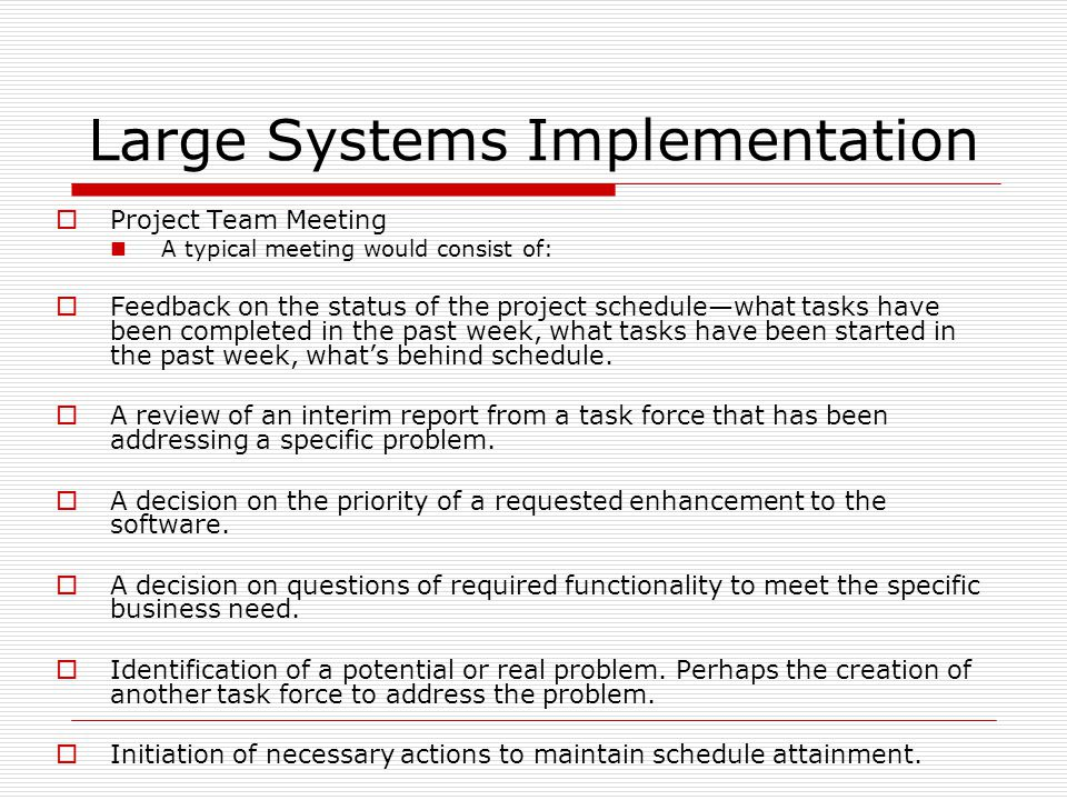 Large Systems Implementation  Project Team Meeting A typical meeting would consist of:  Feedback on the status of the project schedule—what tasks have been completed in the past week, what tasks have been started in the past week, what's behind schedule.