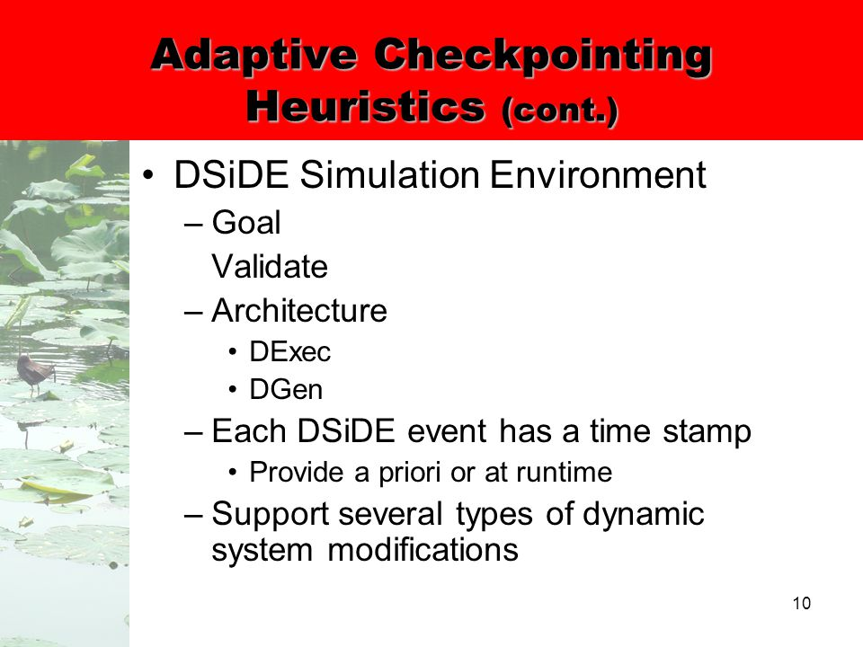 10 Adaptive Checkpointing Heuristics (cont.) DSiDE Simulation Environment –Goal Validate –Architecture DExec DGen –Each DSiDE event has a time stamp Provide a priori or at runtime –Support several types of dynamic system modifications