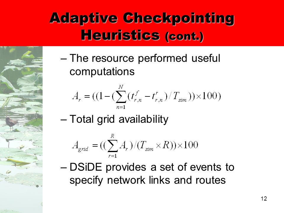 12 Adaptive Checkpointing Heuristics (cont.) –The resource performed useful computations –Total grid availability –DSiDE provides a set of events to specify network links and routes