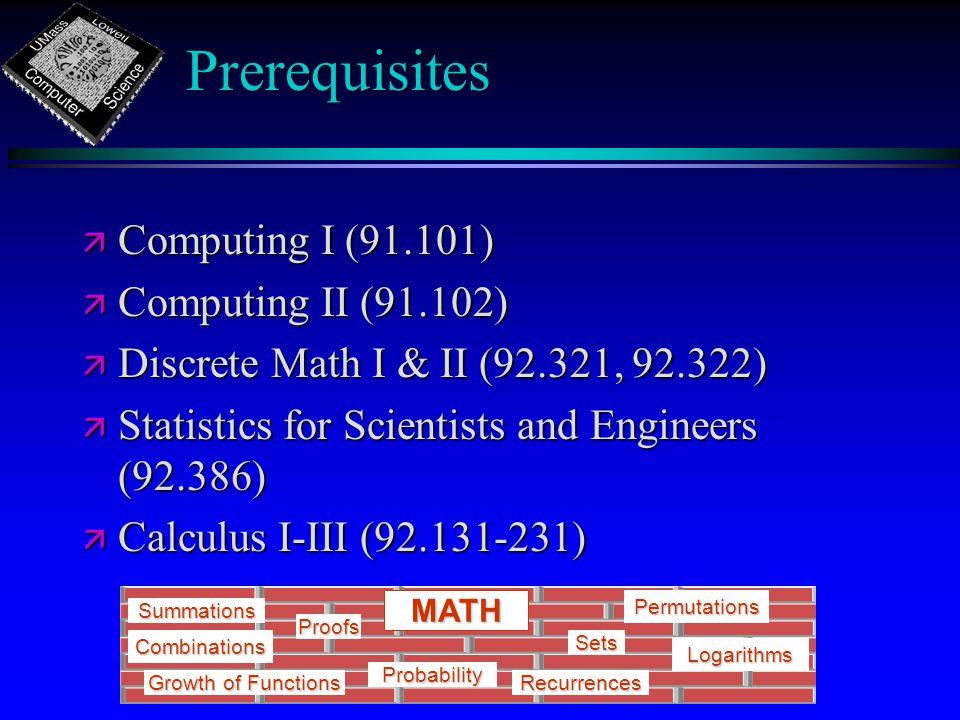 Prerequisites ä Computing I (91.101) ä Computing II (91.102) ä Discrete Math I & II (92.321, ) ä Statistics for Scientists and Engineers (92.386) ä Calculus I-III ( ) Growth of Functions Summations Recurrences Sets Probability MATH Proofs Logarithms Permutations Combinations