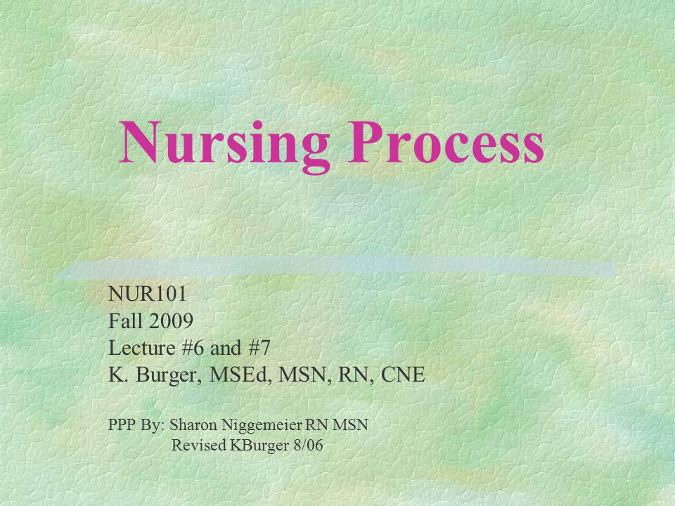 Nursing Process NUR101 Fall 2009 Lecture #6 and #7 K.