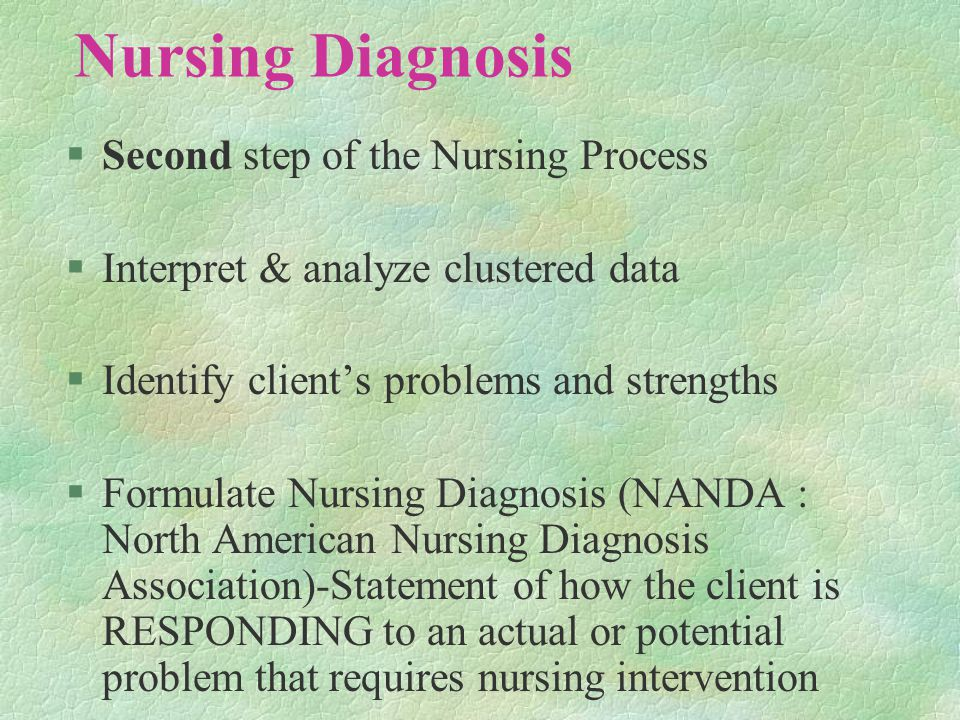 Nursing Diagnosis §Second step of the Nursing Process §Interpret & analyze clustered data §Identify client's problems and strengths §Formulate Nursing Diagnosis (NANDA : North American Nursing Diagnosis Association)-Statement of how the client is RESPONDING to an actual or potential problem that requires nursing intervention