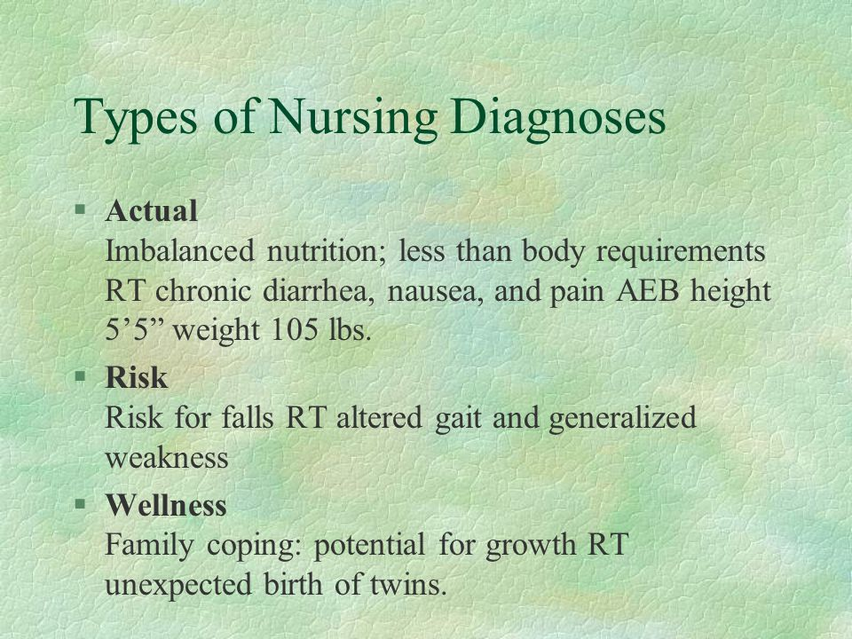 Types of Nursing Diagnoses §Actual Imbalanced nutrition; less than body requirements RT chronic diarrhea, nausea, and pain AEB height 5'5 weight 105 lbs.