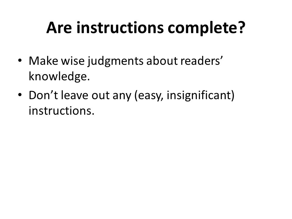 Writing Instructions Write Complete Instructions Make Right