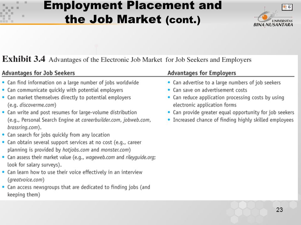 23 Employment Placement and the Job Market (cont.)