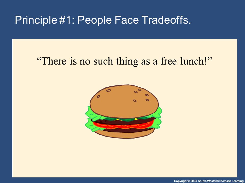 Copyright © 2004 South-Western/Thomson Learning Principle #1: People Face Tradeoffs.