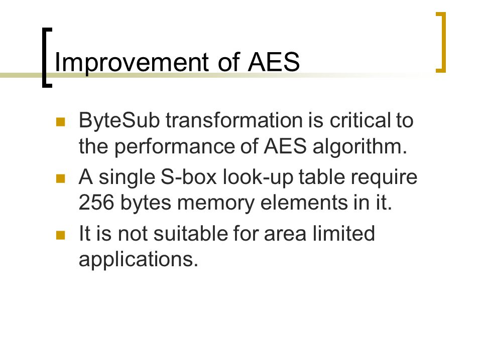 Improvement of AES ByteSub transformation is critical to the performance of AES algorithm.
