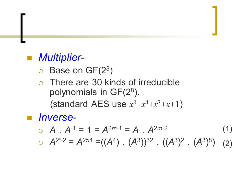 Multiplier-  Base on GF(2 8 )  There are 30 kinds of irreducible polynomials in GF(2 8 ).