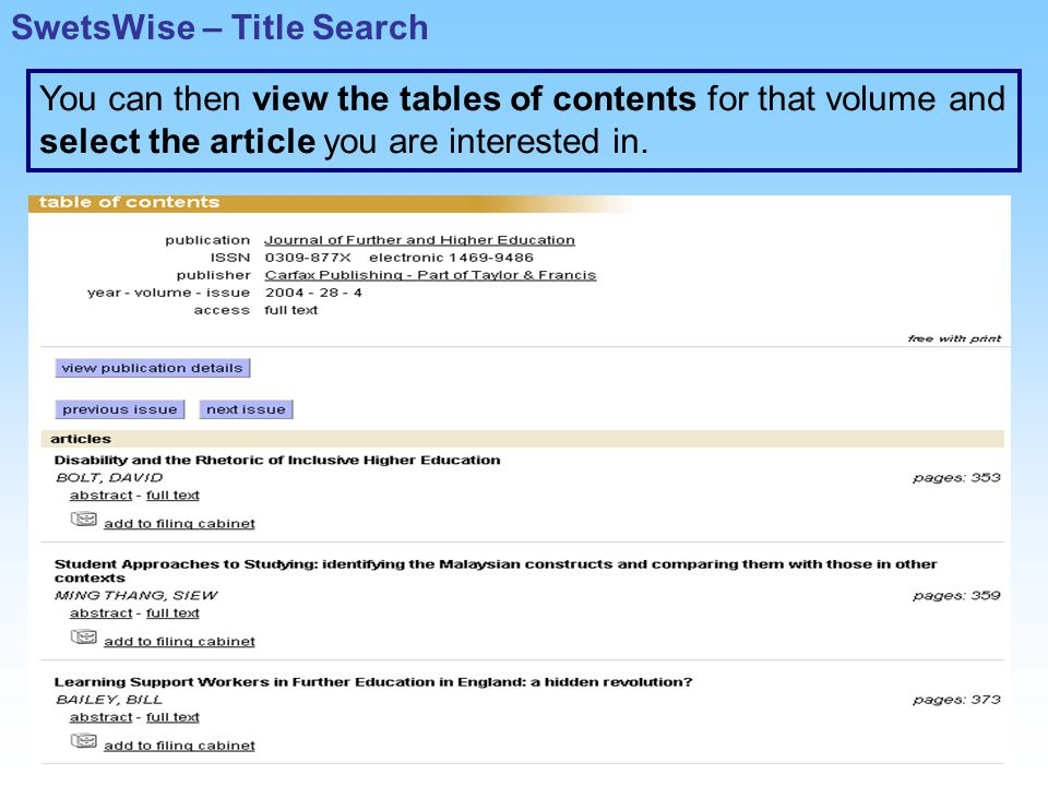 You can then view the tables of contents for that volume and select the article you are interested in.