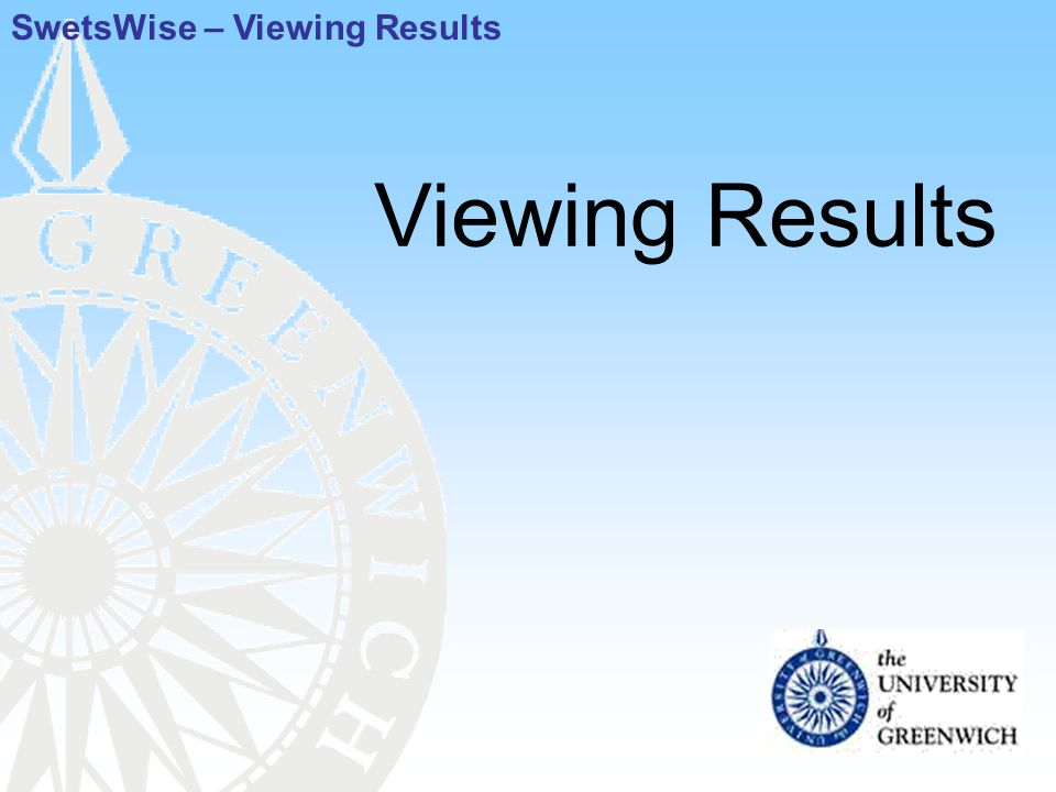 Viewing Results SwetsWise – Viewing Results