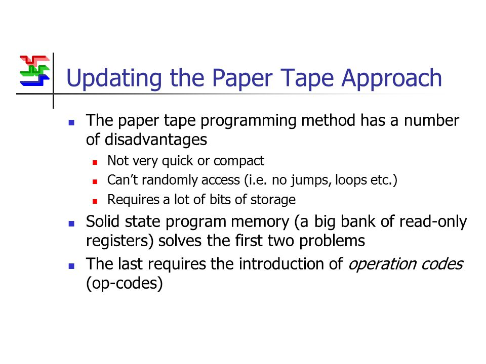 Updating the Paper Tape Approach The paper tape programming method has a number of disadvantages Not very quick or compact Can't randomly access (i.e.