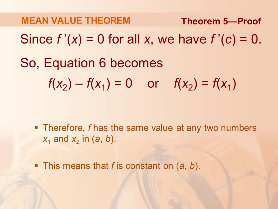 Since f '(x) = 0 for all x, we have f '(c) = 0.