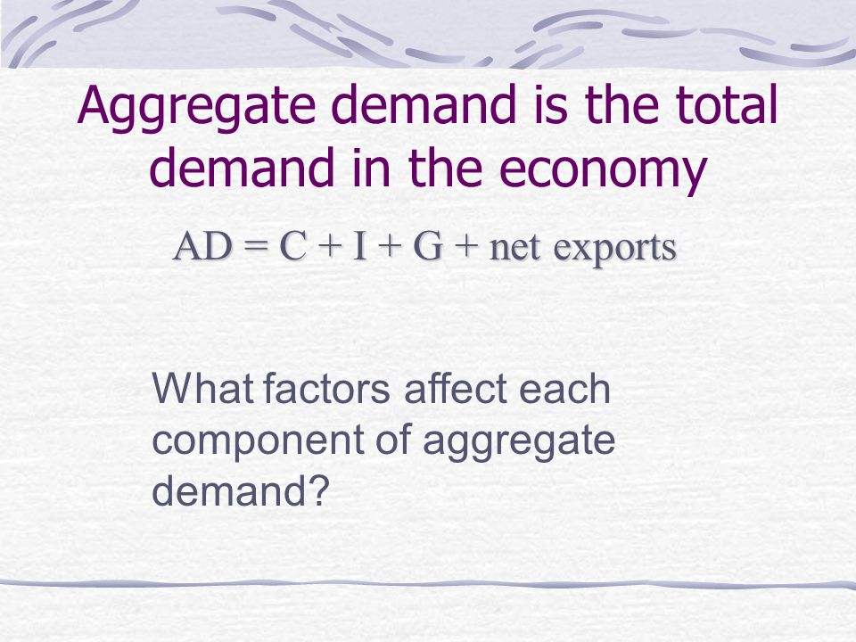 Aggregate demand is the total demand in the economy AD = C + I + G + net exports What factors affect each component of aggregate demand
