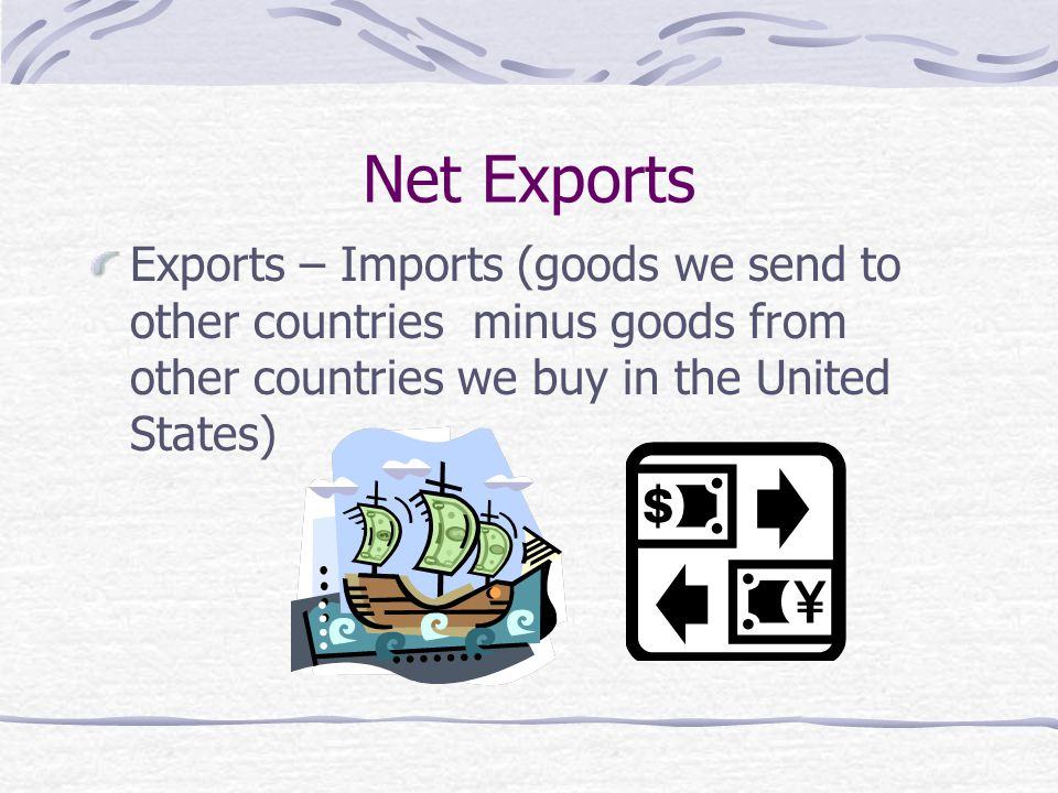 Net Exports Exports – Imports (goods we send to other countries minus goods from other countries we buy in the United States)