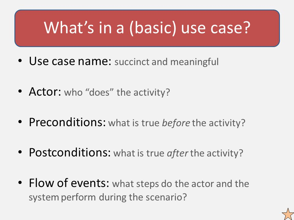 What's in a (basic) use case.