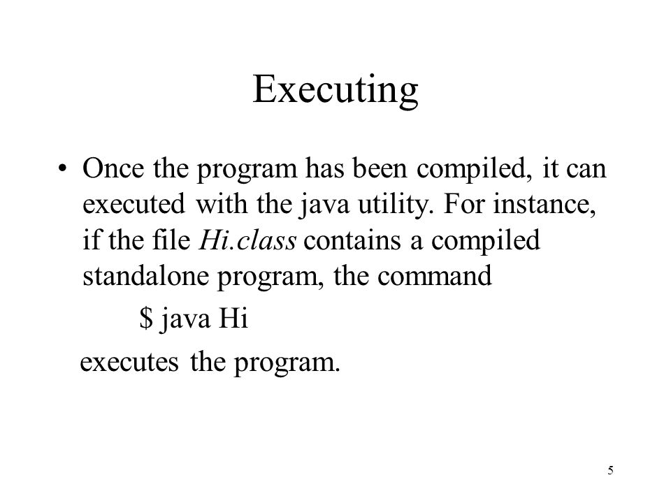 5 Executing Once the program has been compiled, it can executed with the java utility.