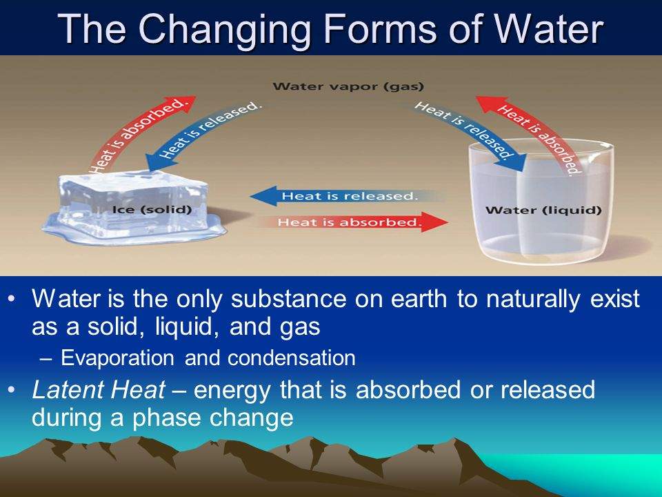 The Changing Forms of Water Water is the only substance on earth to naturally exist as a solid, liquid, and gas –Evaporation and condensation Latent Heat – energy that is absorbed or released during a phase change