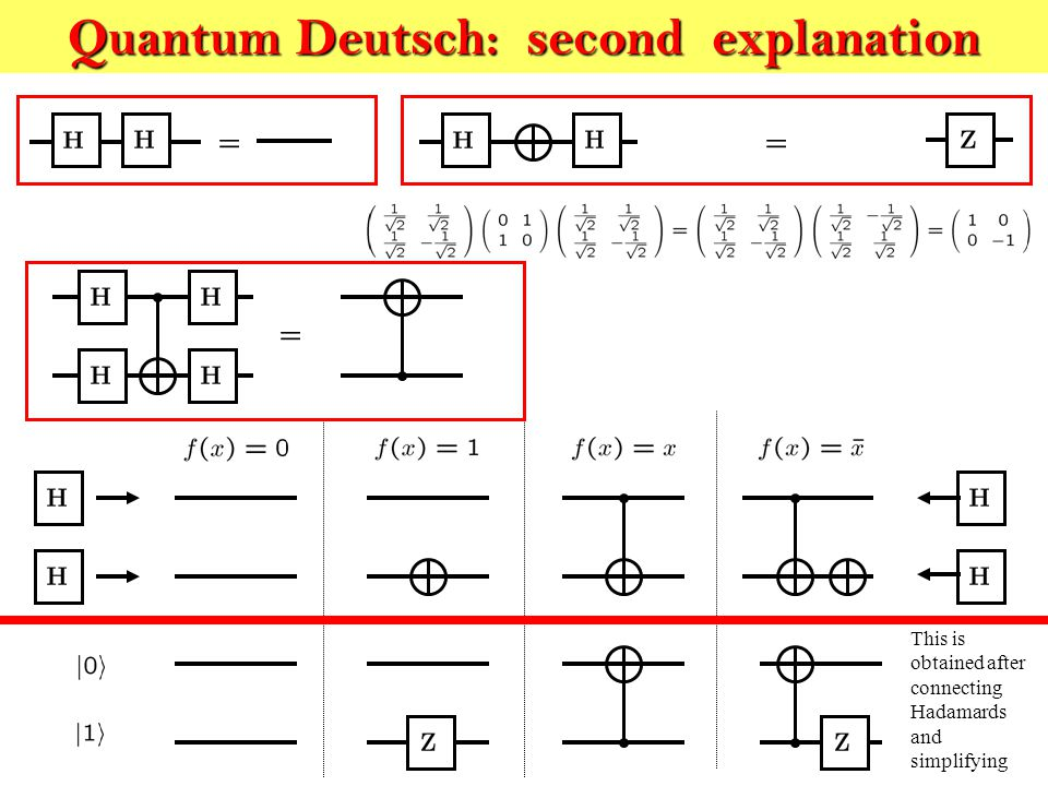 Quantum Deutsch: second explanation This is obtained after connecting Hadamards and simplifying