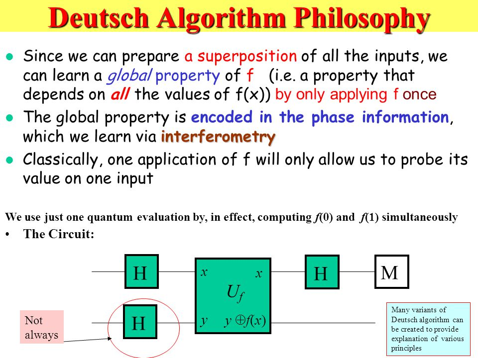 Deutsch Algorithm Philosophy Since we can prepare a superposition of all the inputs, we can learn a global property of f (i.e.