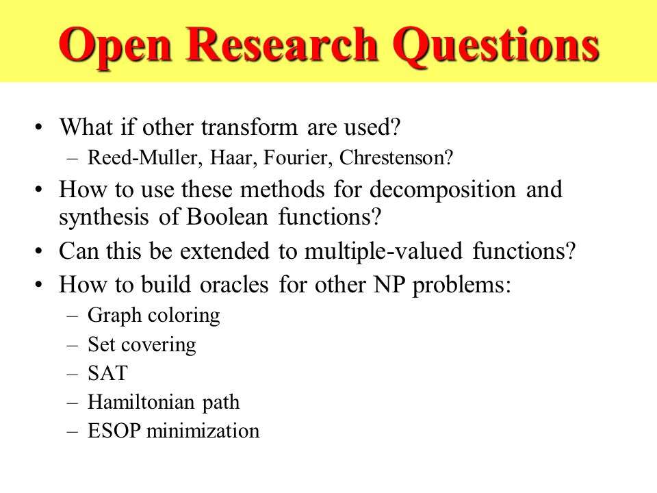 Open Research Questions What if other transform are used.