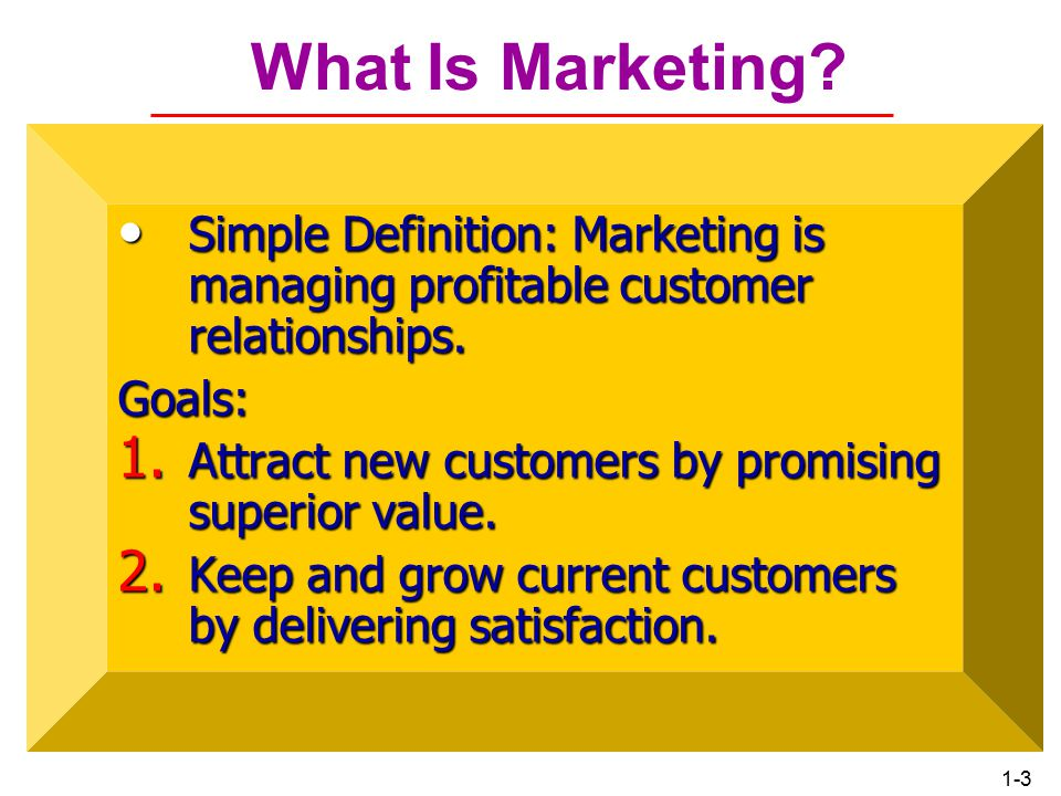 1-2 ROAD MAP: Previewing the Concepts Define marketing and outline the steps in the marketing process.