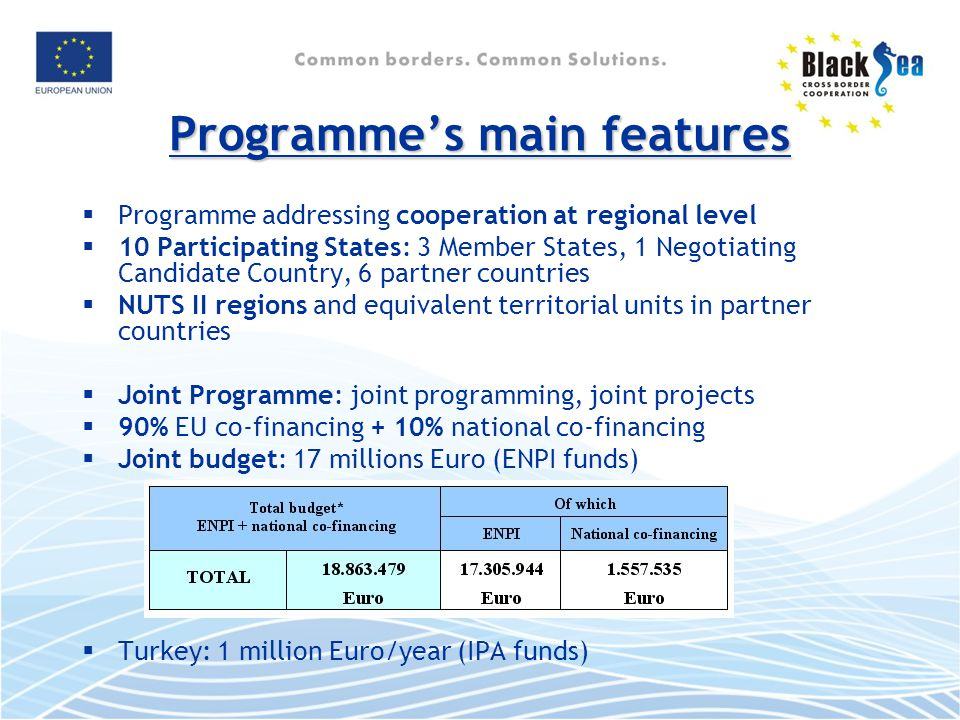 Programme's main features  Programme addressing cooperation at regional level  10 Participating States: 3 Member States, 1 Negotiating Candidate Country, 6 partner countries  NUTS II regions and equivalent territorial units in partner countries  Joint Programme: joint programming, joint projects  90% EU co-financing + 10% national co-financing  Joint budget: 17 millions Euro (ENPI funds)  Turkey: 1 million Euro/year (IPA funds)