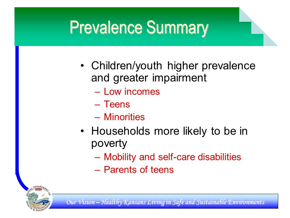 Our Vision – Healthy Kansans Living in Safe and Sustainable Environments Prevalence Summary Children/youth higher prevalence and greater impairment –Low incomes –Teens –Minorities Households more likely to be in poverty –Mobility and self-care disabilities –Parents of teens