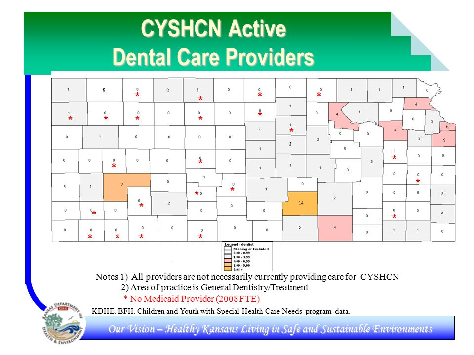Our Vision – Healthy Kansans Living in Safe and Sustainable Environments CYSHCN Active Dental Care Providers KDHE.