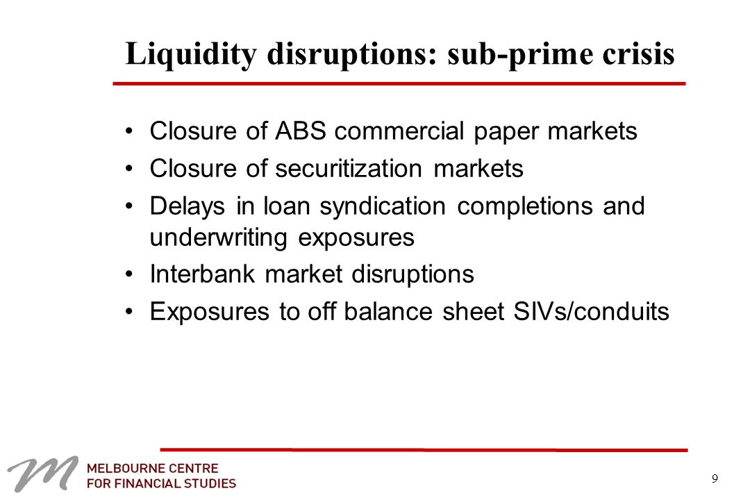 9 Liquidity disruptions: sub-prime crisis Closure of ABS commercial paper markets Closure of securitization markets Delays in loan syndication completions and underwriting exposures Interbank market disruptions Exposures to off balance sheet SIVs/conduits