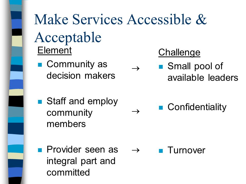 Make Services Accessible & Acceptable Element n Community as decision makers n Staff and employ community members n Provider seen as integral part and committed Challenge n Small pool of available leaders n Confidentiality n Turnover   